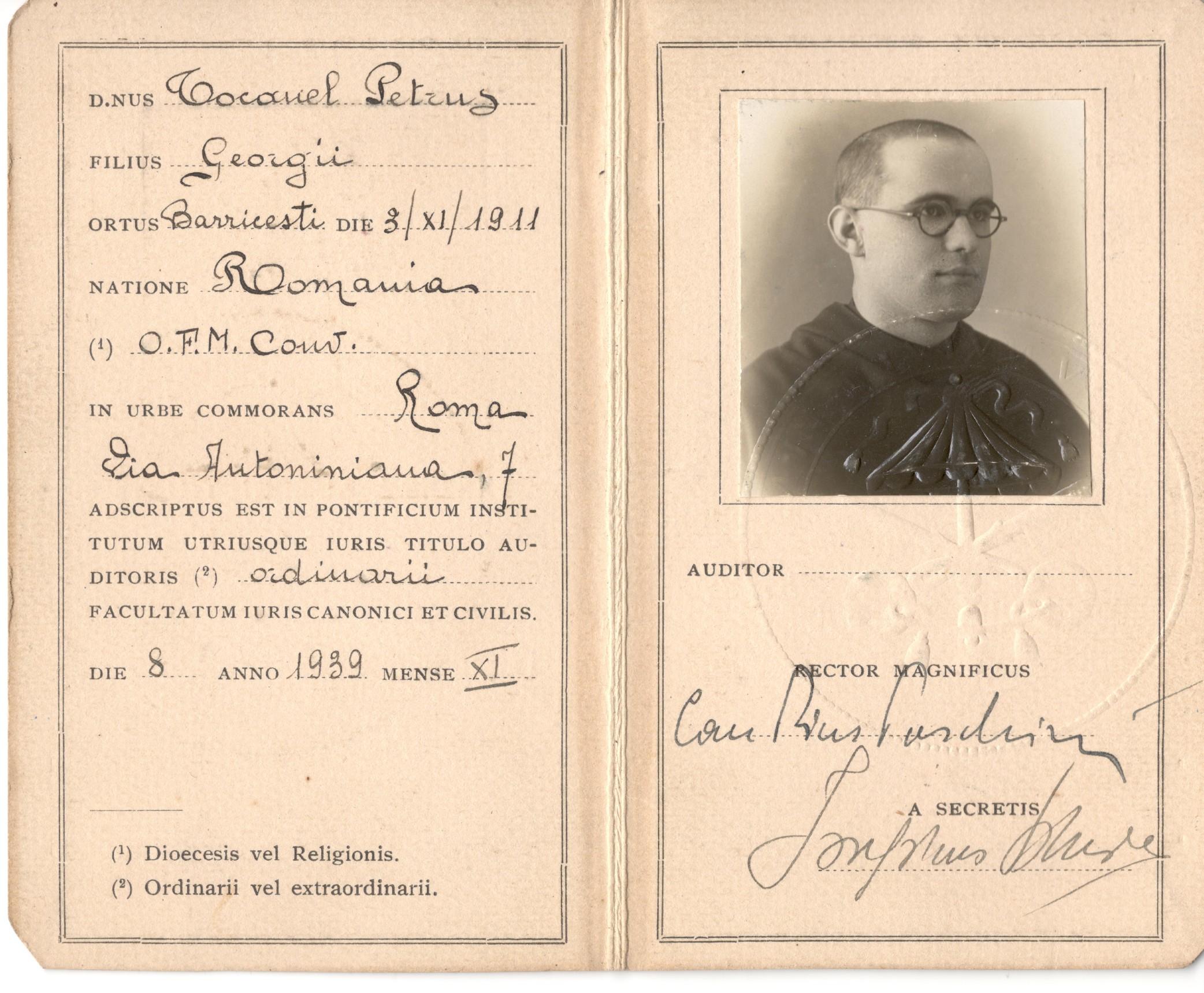 Înscrierea la Pontificium Institutum Utriusque Iuris